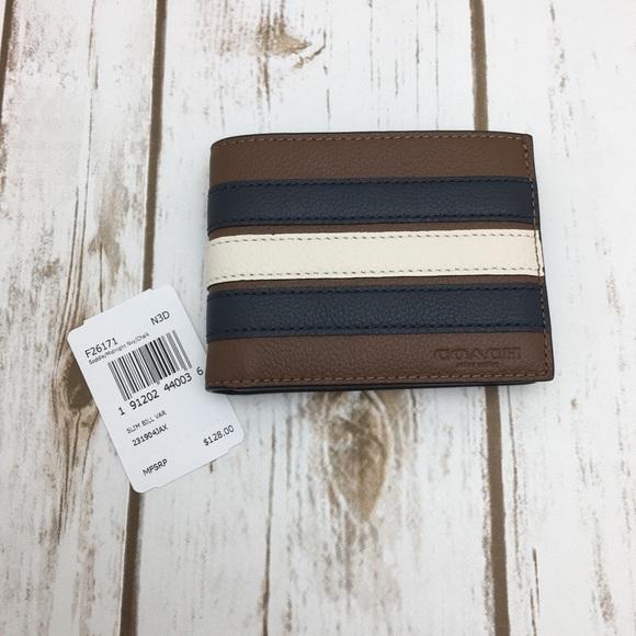 621ecac2 Slim Billfold Men Wallet Navy Cream Stripe F26171 NWT